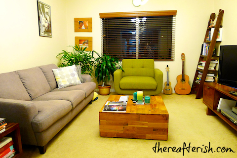 thereafterish, green sitting chair, driftwood coffee table