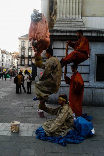 Street performers in Brussels