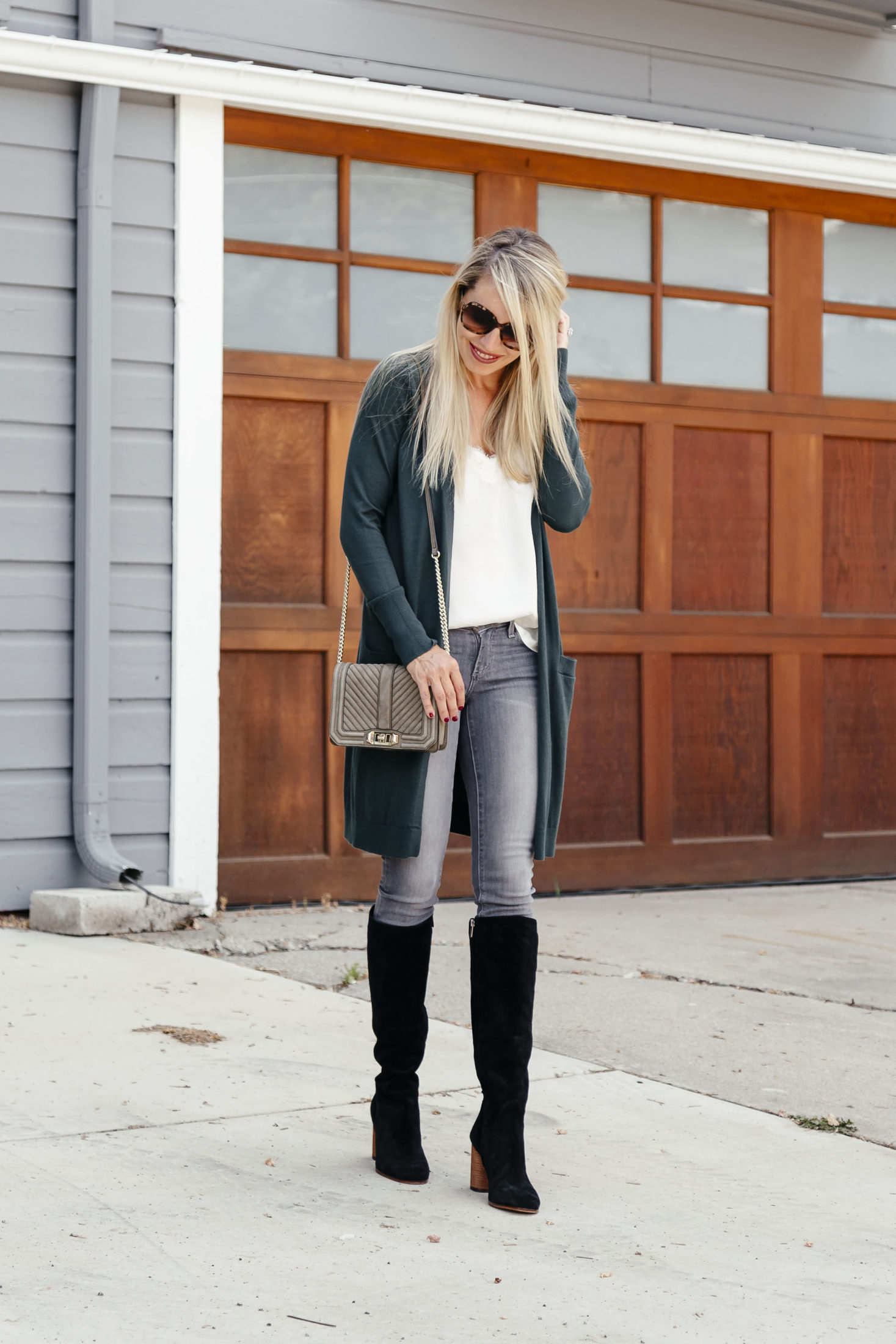 afb0d1ec476 Five Ways to Wear Cardigans. knee high black boot - boots under  150 -  suede knee high boots - suede black ...