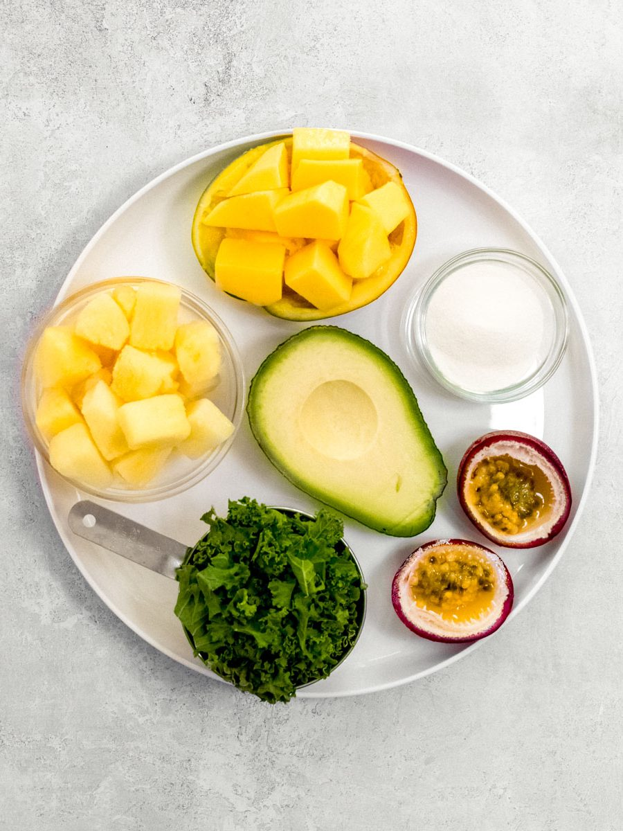 Smoothie ingredients on white plate