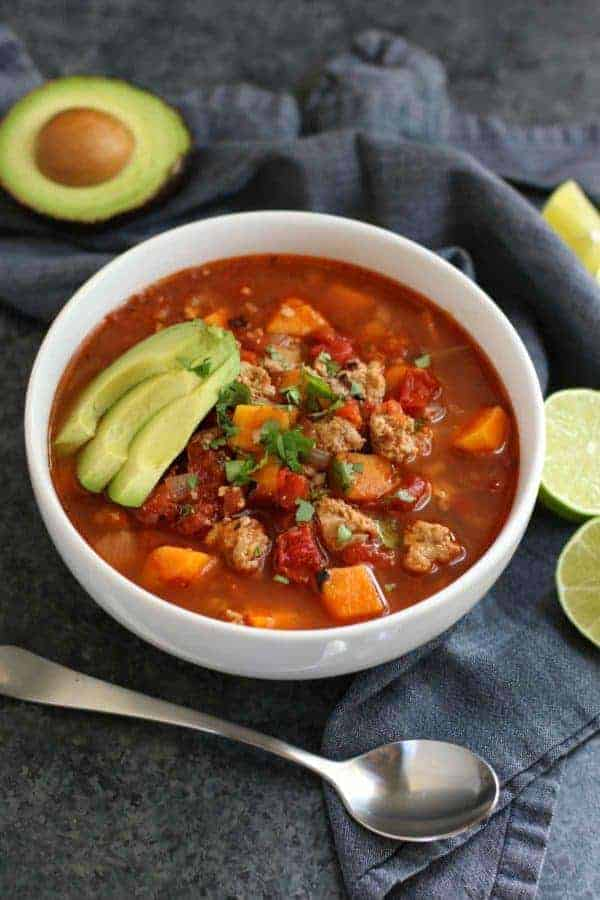 The Real Food Dietitians | Chipotle Turkey Sweet Potato Chili | https://therealfoodrds.com/chipotle-turkey-and-sweet-potato-chili