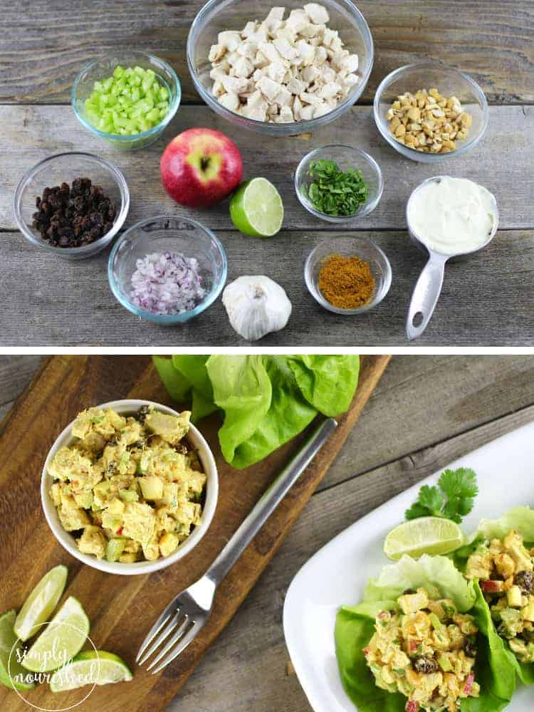 Curry Chicken Salad Lettuce Wraps   Gluten-free chicken salad   Grain-free chicken salad   Gluten-free chicken salad   Dairy-free chicken salad   Paleo chicken salad    The Real Food Dietitians #healthychickensalad #paleorecipes #glutenfreerecipes