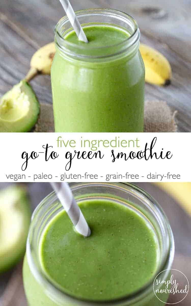 Five Ingredient Go-To Green Smoothie | green smoothie recipes | healthy smoothie recipes | easy smoothie recipes | quick smoothie recipes | how to make a green smoothie || The Real Food Dietitians #greensmoothie #healthysmoothie #healthybreakfast