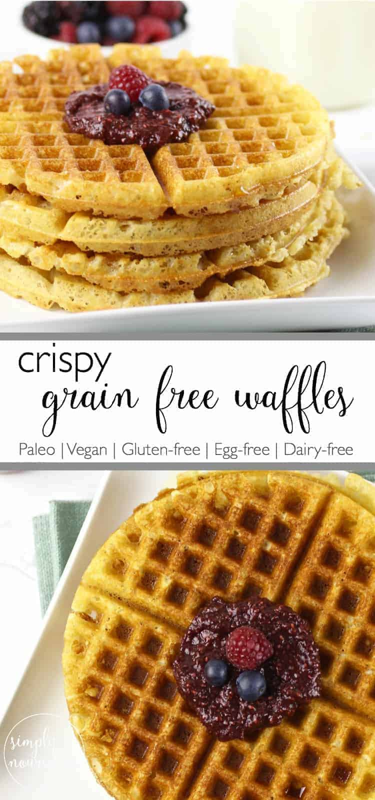 Crispy Grain-free Waffles | Paleo waffle recipe | Vegan vegan waffle recipe | Gluten-Free waffle recipe | egg-free waffle recipe | healthy waffle recipe | healthier breakfast recipes || The Real Food Dietitians #veganwaffles #healthywaffles #glutenfreebreakfast