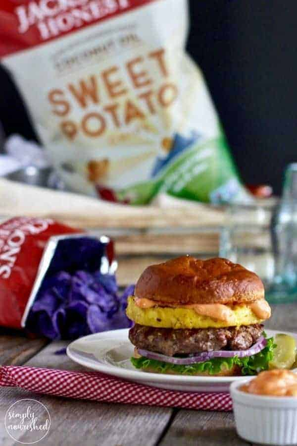 Bison Burger with Grilled Pineapple and Sriracha Aioli   Gluten-free, Dairy-free plus Egg-free and Paleo options   https://simpynourishedrecipes.com/bison-burger-pineapple-sriracha-aioli/