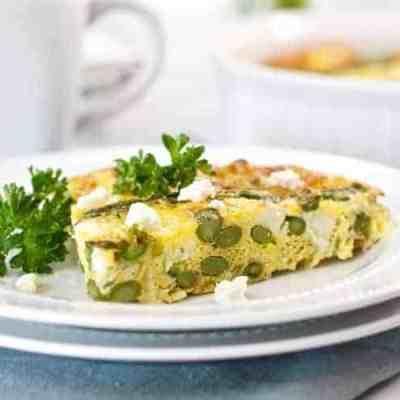 Crustless Asparagus Leek & Feta Quiche