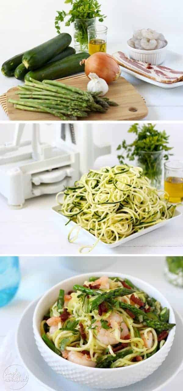 "Zucchini ""Pasta"" Carbonara with Shrimp 