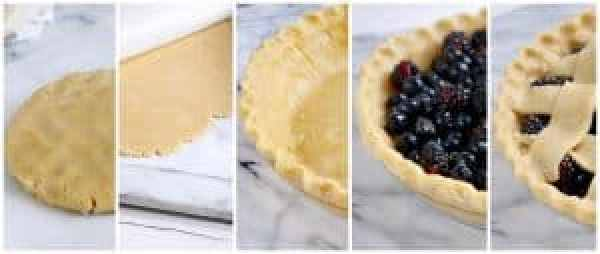 Filling the pie for Paleo Black and Blueberry Pie | The Real Food Dietitians | https://therealfoodrds.com/paleo-black-and-blueberry-pie/