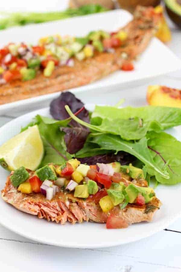 Chili Lime Salmon with Peach Salsa