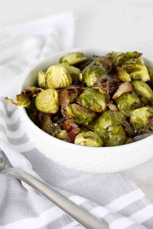 Roasted Brussels Sprouts with Bacon | Whole30 + Paleo | https://therealfoodrds.com/roasted-brussels-sprouts-with-bacon/