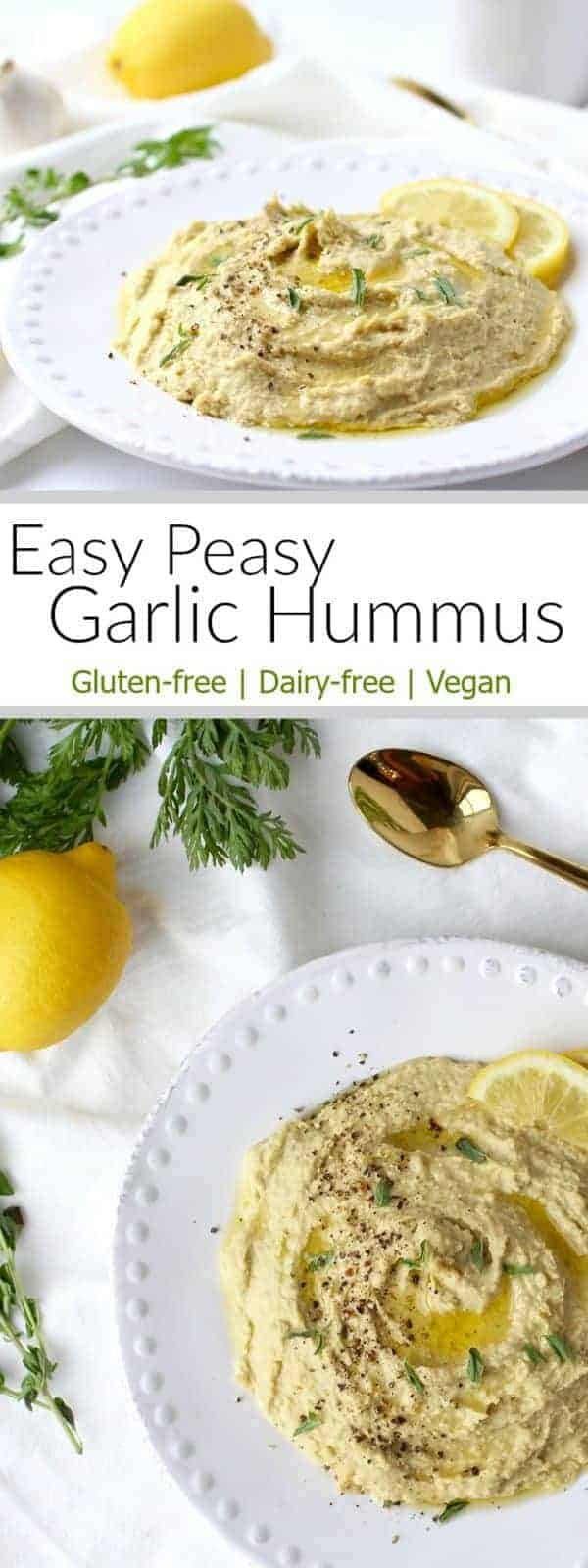 Easy Peasy Garlic Hummus makes for a bomb veggie dip. It can add a boost of flavor to your favorite wrap and it makes for a delicious addition to all kinds of salads - veggie salads, tuna salad, egg salad, chicken salad...you name it! | Vegan | Gluten-free