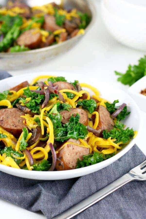 Butternut Squash Noodles with Sausage and Kale