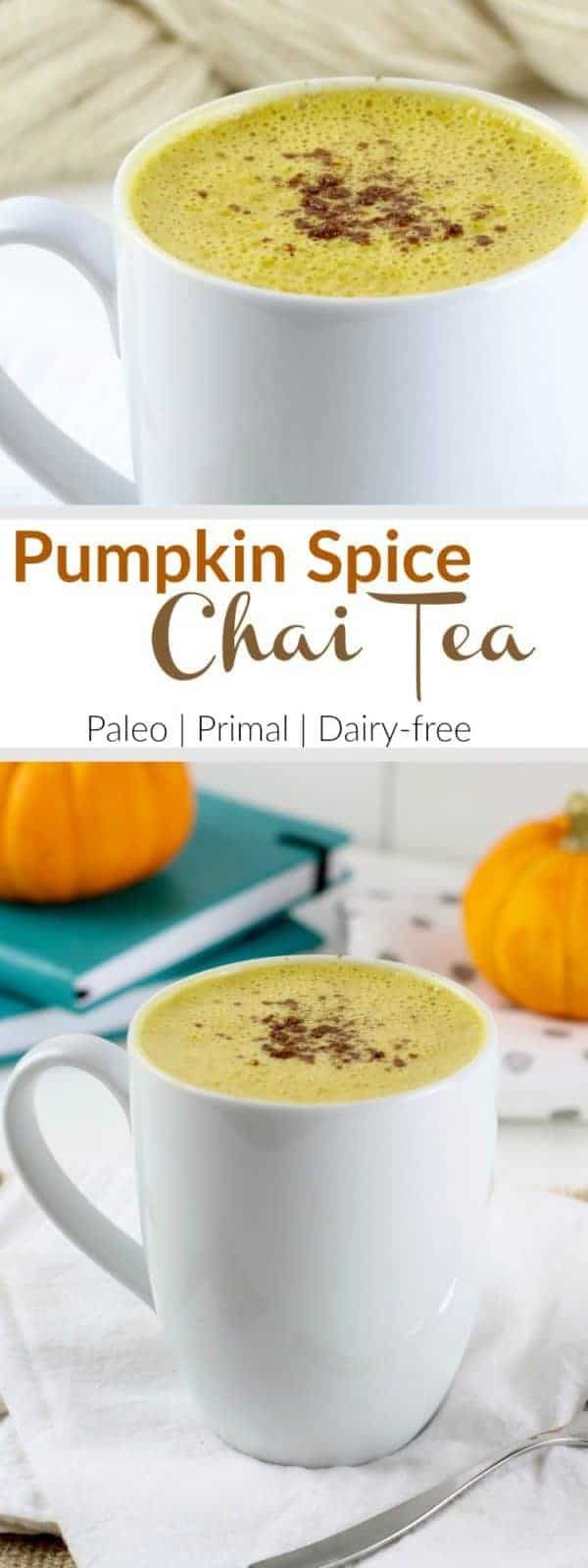 Pumpkin Spice Chai Tea | Fragrant and warming chai tea is blended with creamy almond milk, ghee and coconut butter to give it a subtly sweet and ultra creamy texture - then taken over the top with pumpkin and spices for a satisfying treat any time of day | The Real Food Dietitians | http://therealfoodrds.com/pumpkin-spice-chai-tea/