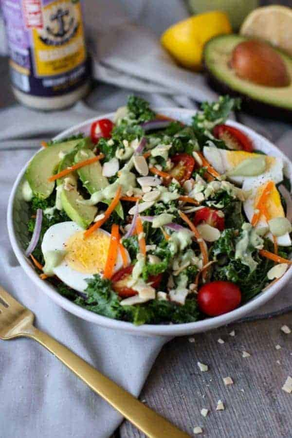 Kale Salad with Avocado Caesar Dressing | The Real Food Dietitians