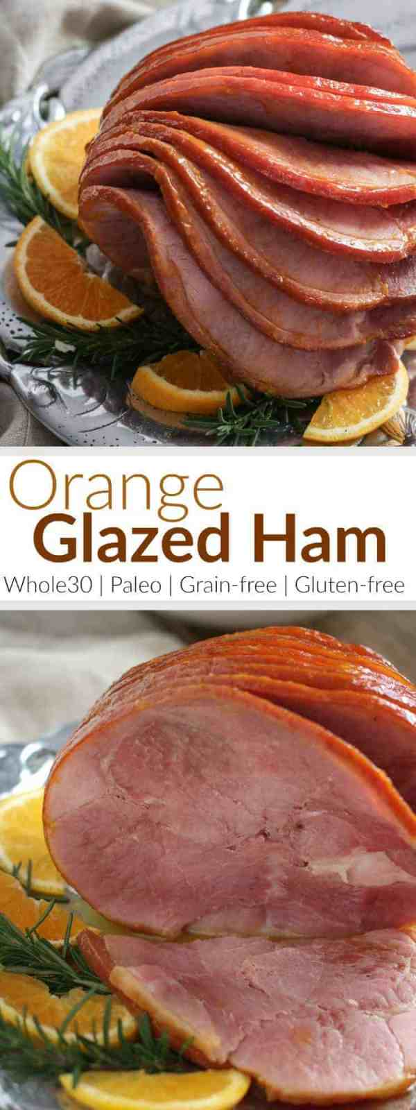 Now you can enjoy perfectly glazed ham without added sugar! Our baked ham with it's simple 4 ingredient orange and spice glaze is easy enough for a casual weekend dinner or meal prep session and elegant enough for holiday feasts | Whole30 meat recipes | whole30 holiday recipes | paleo meat recipes | paleo holiday recipes | grain-free meat recipes | grain-free holiday recipes | gluten-free meat recipes | gluten-free holiday recipes || The Real Food Dietitians