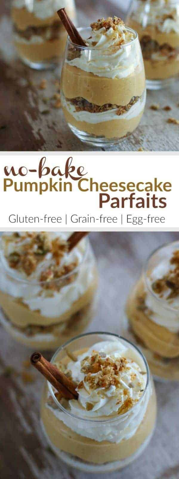 Impress your guests this Holiday season with these adorable No-Bake Pumpkin Cheesecake Parfaits. This gluten-free, grain-free and egg-free dessert combines the ever-so-popular pumpkin pie and traditional cheesecake | therealfoodrds.com