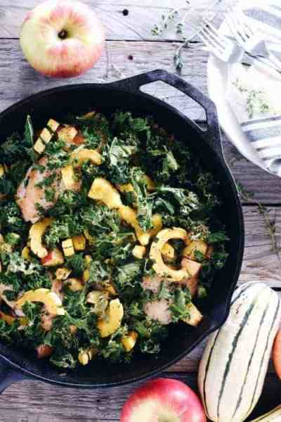 One-Pan Chicken, Apple & Squash Skillet | Thirty Egg-free Whole30 Breakfasts | whole30 breakfast recipes | egg free breakfast ideas | healthy breakfast recipes | whole30 recipe ideas | egg free breakfast recipes || The Real Food Dietitians #eggfreebreakfast #whole30breakfast #healthybreakfast