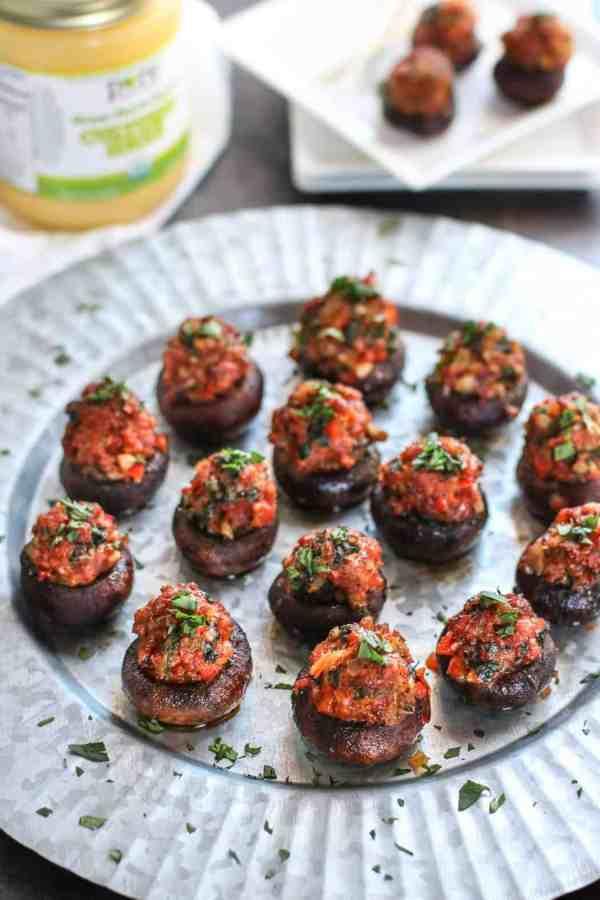Chorizo Stuffed Mushrooms | The Real Food Dietitians | https://therealfoodrds.com/chorizo-stuffed-mushrooms/