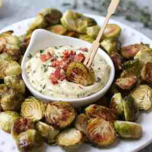 Roasted Brussels Sprouts with Garlic Bacon Aioli