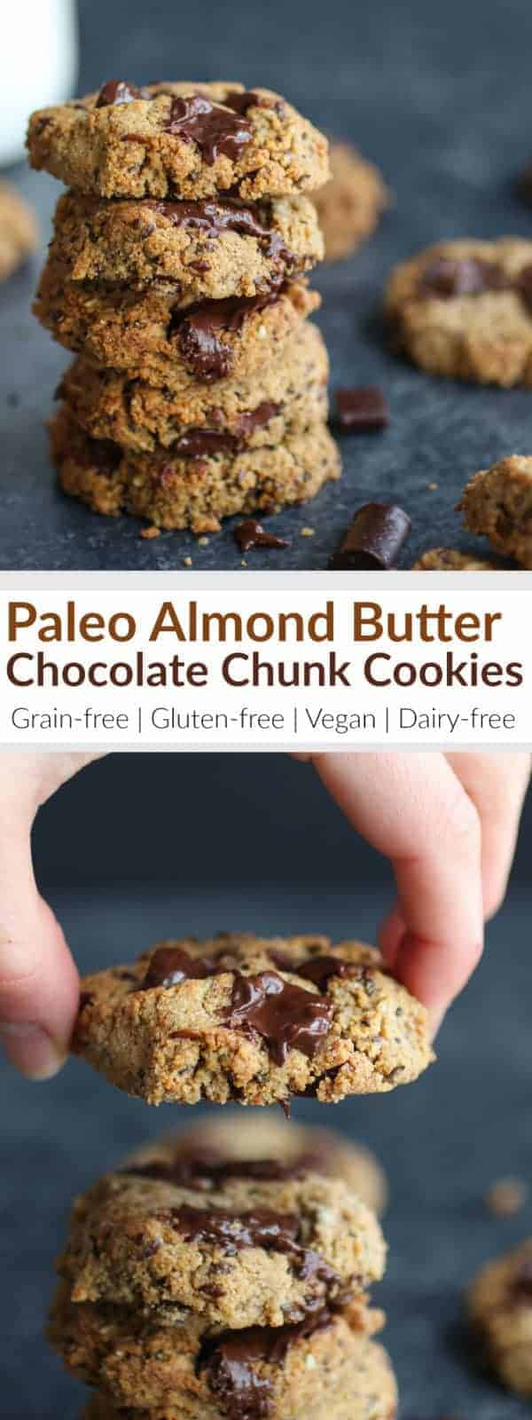 When you're craving a little somethin' sweet, make these one-bowl, Paleo Almond Butter Chocolate Chunk Cookies. The perfectly soft chocolate chunk cookie that's grain-free, gluten-free, dairy-free, egg-free, paleo and vegan-friendly and out-of-this-world delicious. | therealfoodrds.com