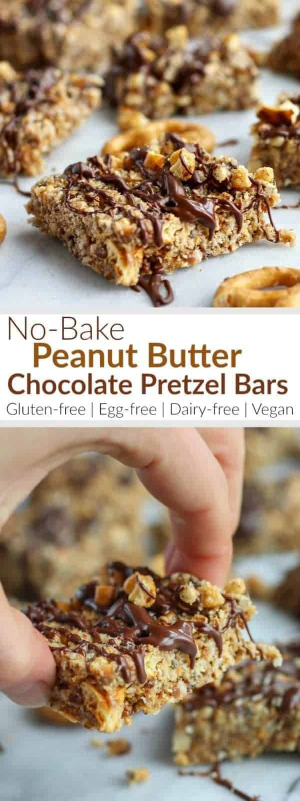 No-Bake Peanut Butter Chocolate Pretzel Bars make the perfect sweet-and-salty treat. They're gluten-free, egg-free, dairy-free & vegan-friendly and only 5 grams of sugar per bar!   therealfoodrds.com