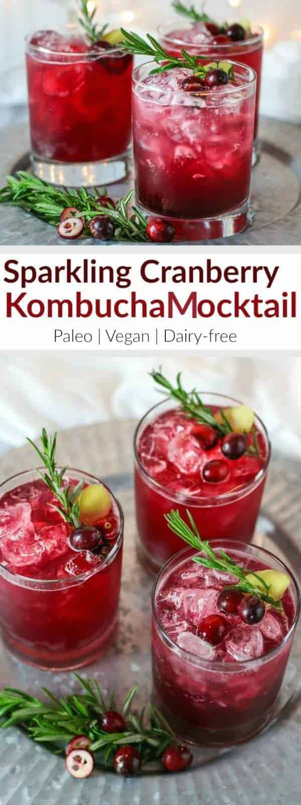 Sparkling Cranberry Kombucha Mocktail | This alcohol-free mocktail is a refreshing and stunning alternative to other holiday cocktails. The ginger and rosemary lend a festive touch and pair nicely with the tart cranberry juice. So now you can celebrate the night away without a headache or dehydration - plus you get a healthy dose of probiotics! | Paleo | Vegan | Dairy-free | therealfoodrds.com