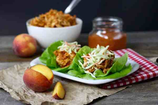 Slow Cooker Peach BBQ Chicken | The Real Food Dietitians | http://therealfoodrds.com/slow-cooker-peach-bbq-chicken/
