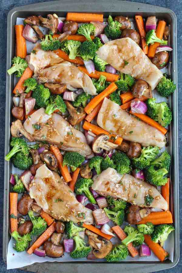 Healthy, easy & delicious! One-Pan Balsamic Chicken Veggie Bake is quick to prep and in the oven for less than 20 minutes. | gluten-free dinner recipes | dairy-free dinner recipes | whole30 dinner recipes | whole30 chicken recipes | healthy dinner recipes | easy dinner recipes || The Real Food Dietitians #whole30dinner #whole30recipe #healthydinner