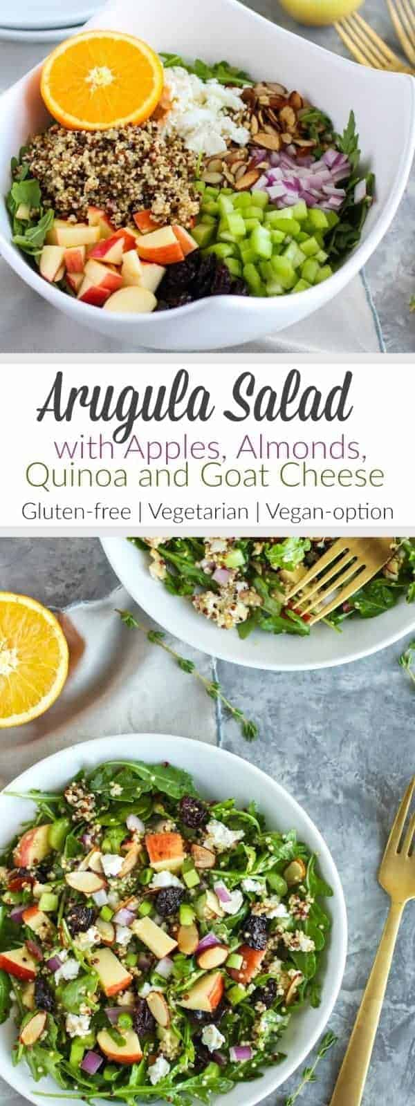 This Arugula Salad combines crisp apples, toasted almonds, hearty quinoa, creamy goat cheese, tart dried cherries and tossed in a delicious citrus vinaigrette | Gluten-free | Vegetarian | Vegan Optional | therealfoodrds.com