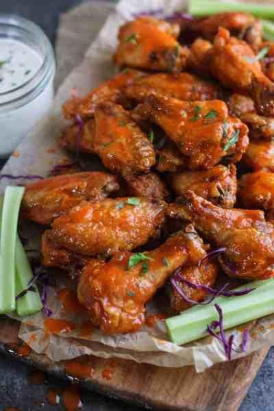 Crispy Baked Buffalo Wings | 30 Whole30 Appetizers | healthy appetizer recipes | whole30 approved appetizers | gluten-free appetizers | easy healthy appetizers || The Real Food Dietitians #whole30appetizers #whole30recipes #healthyappetizers