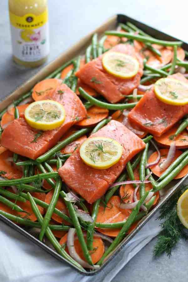 One-Pan Salmon and Veggie Bake | The Real Food Dietitians | https://therealfoodrds.com/one-pan-salmon-and-veggie-bake/