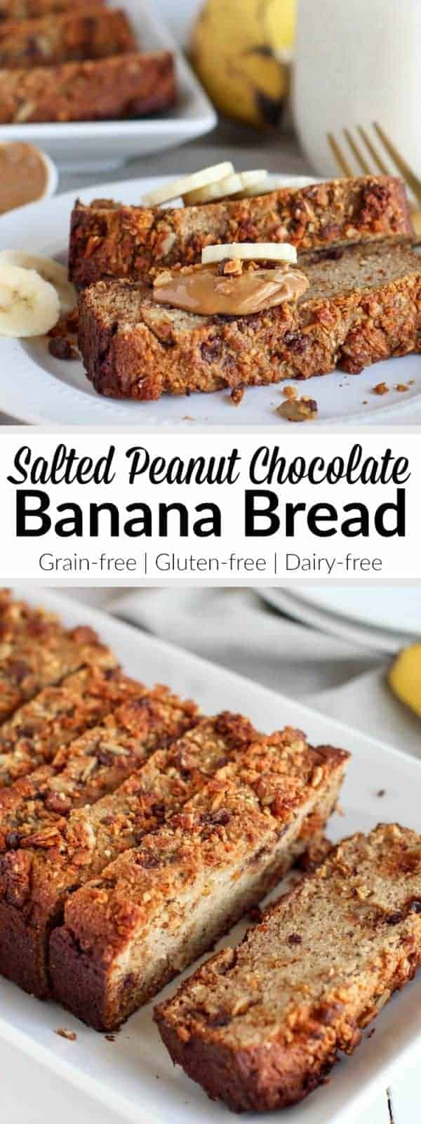 Grain-free Salted Peanut Chocolate Banana Bread: One simple addition turns a classic banana bread into something even more delicious! With only 7 grams of sugar per serving it's healthy enough to enjoy as part of your breakfast yet still decadent enough to serve at a special gathering with friends and/or family. | Grain-free | Gluten-free | Dairy-free | therealfoodrds.com