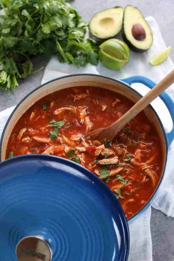 Chicken Tortilla-less Soup | The Real Food Dietitians | http://therealfoodrds.com/chickem-tortilla-less-soup/