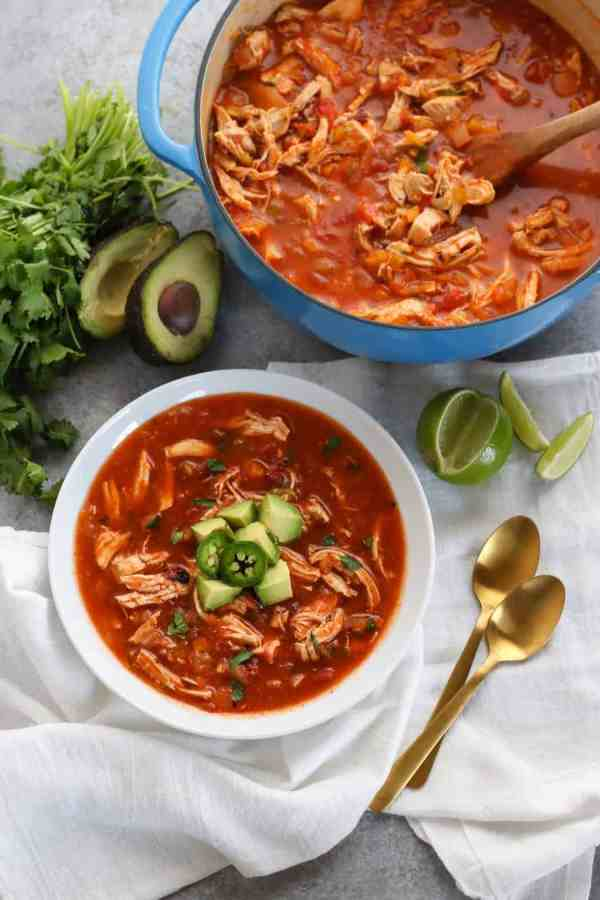 Chicken Tortilla-less Soup | The Real Food Dietitians | https://therealfoodrds.com/chickem-tortilla-less-soup/