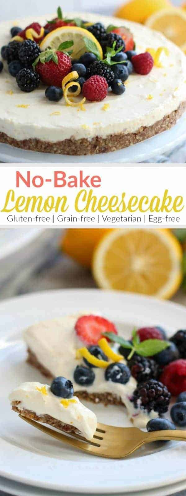 No-Bake Lemon Cheesecake | A light and tangy cheesecake without all the fuss! Serve it with fresh berries and extra lime zest for a simple yet elegant dessert. | The Real Food Dietitians | http://therealfoodrds.com/no-bake-lemon-cheesecake/