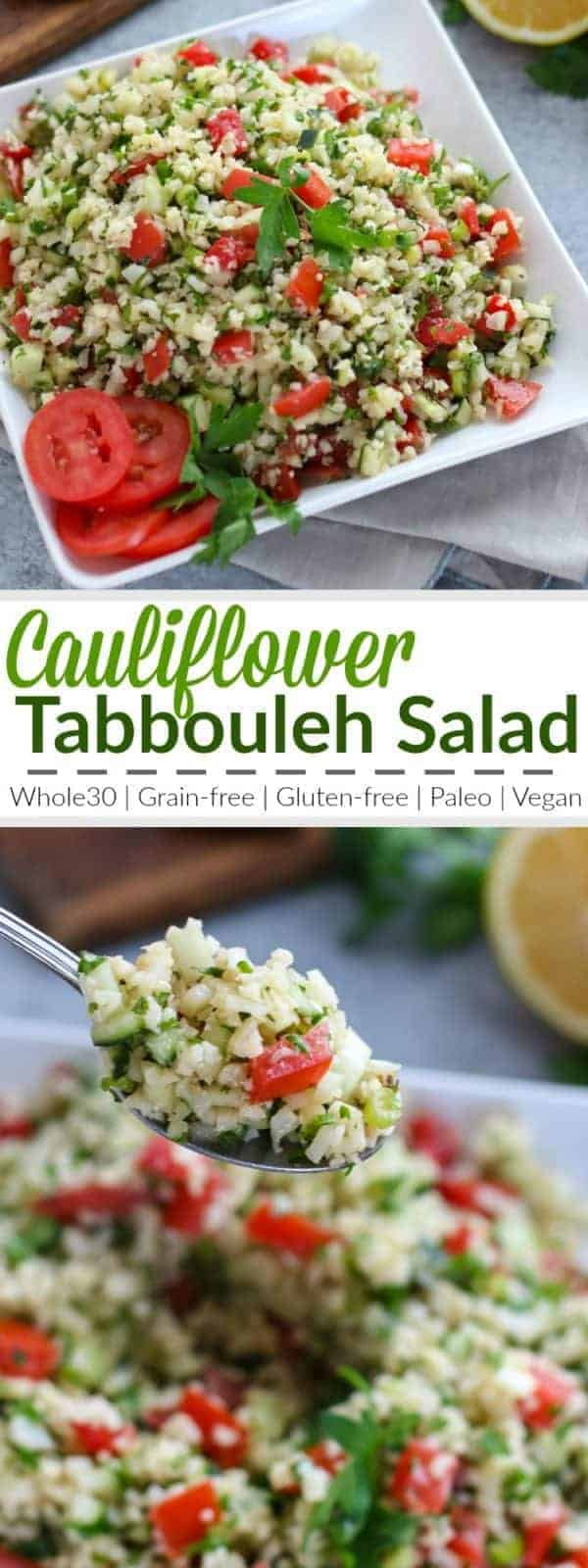 Cauliflower Tabbouleh Salad | A fresh grain-free take on a traditional Middle Eastern dish! We've replaced the bulgur wheat with lightly sauteed cauliflower 'rice' for a gluten-free and paleo-friendly side dish to serve with your favorite protein or share at your next potluck event. | Whole30 | Vegan | Gluten-free | https://therealfoodrds.com/cauliflower-tabbouleh-salad/