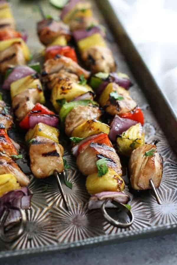 Teriyaki Chicken and Pineapple Kebabs   The Real Food Dietitians   http://therealfoodrds.com/teriyaki-chicken-pineapple-kebabs/