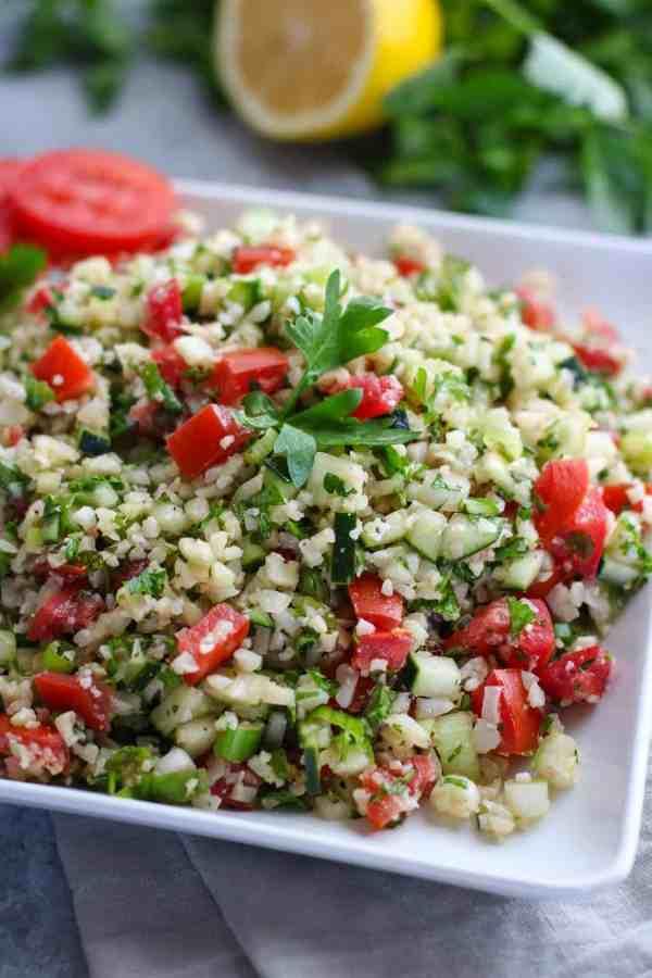 Cauliflower Tabbouleh Salad | The Real Food Dietitians | http://therealfoodrds.com/cauliflower-tabbouleh-salad/