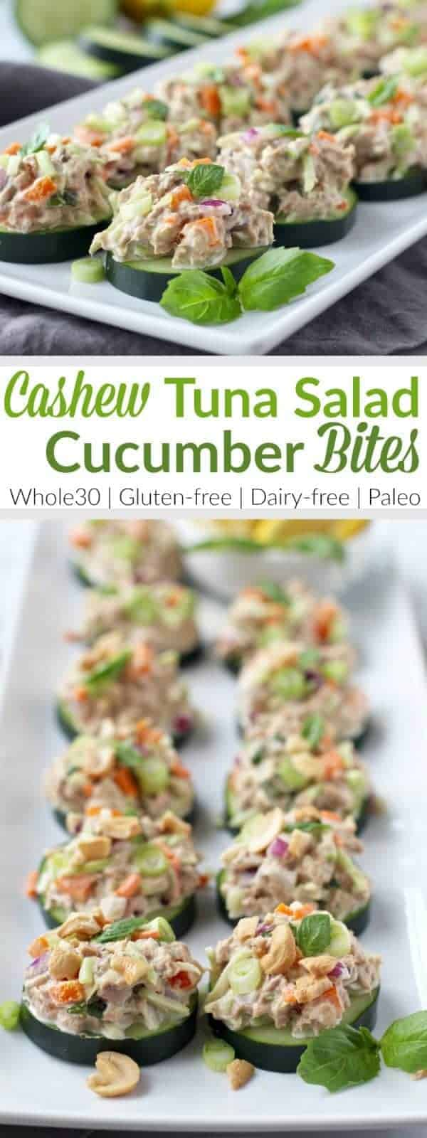 Tasty Cashew Tuna Salad Cucumber Bites make for the perfect Whole30-friendly lunch (or snack) and are made in just 10 minutes! | The Real Food Dietitians | https://therealfoodrds.com/cashew-tuna-salad-cucumber-bites/