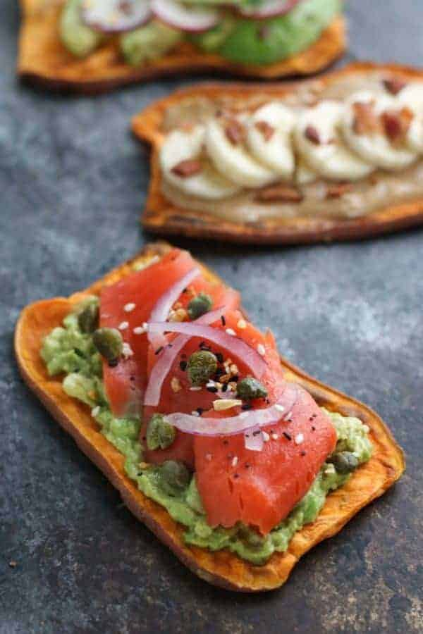 Oven Baked Sweet Potato Toast 4 Ways | The Real Food Dietitians | https://therealfoodrds.com/oven-baked-sweet-potato-toast-4-ways/