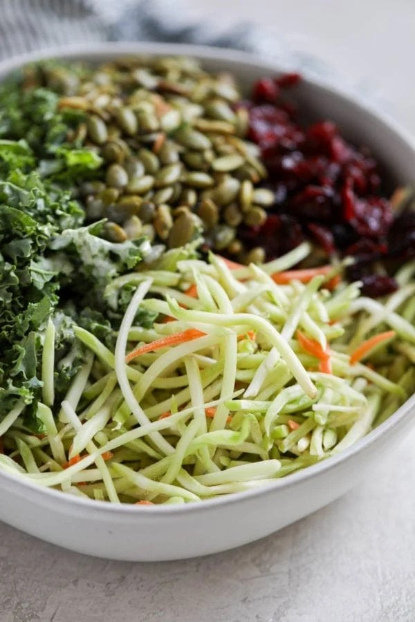 A white bowl filled with broccoli shreds, kale, pumpkin seeds, and dried cranberries.