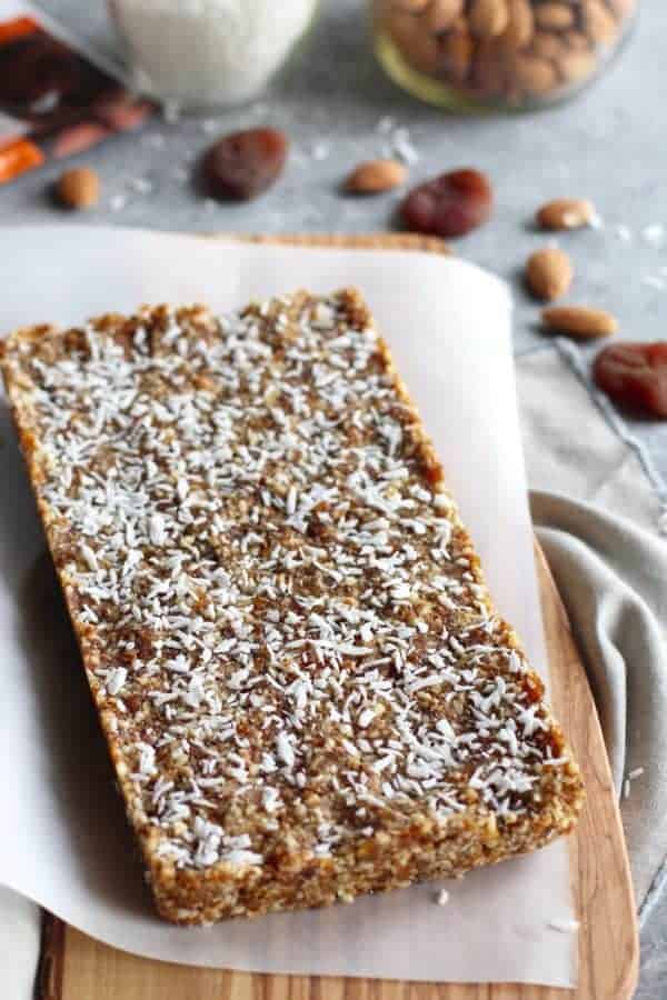 No-Bake Apricot Almond Coconut Energy Bars | The Real Food Dietitians | https://therealfoodrds.com/apricot-almond-coconut-energy-bars/