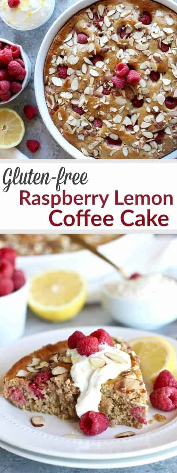 An oh so tasty Gluten-free Raspberry Lemon Coffee Cake topped with a Lemon Sour Cream Sauce is made healthy with wholesome ingredients & no refined-sugars. | The Real Food Dietitians | https://therealfoodrds.com/raspberry-lemon-coffee-cake/
