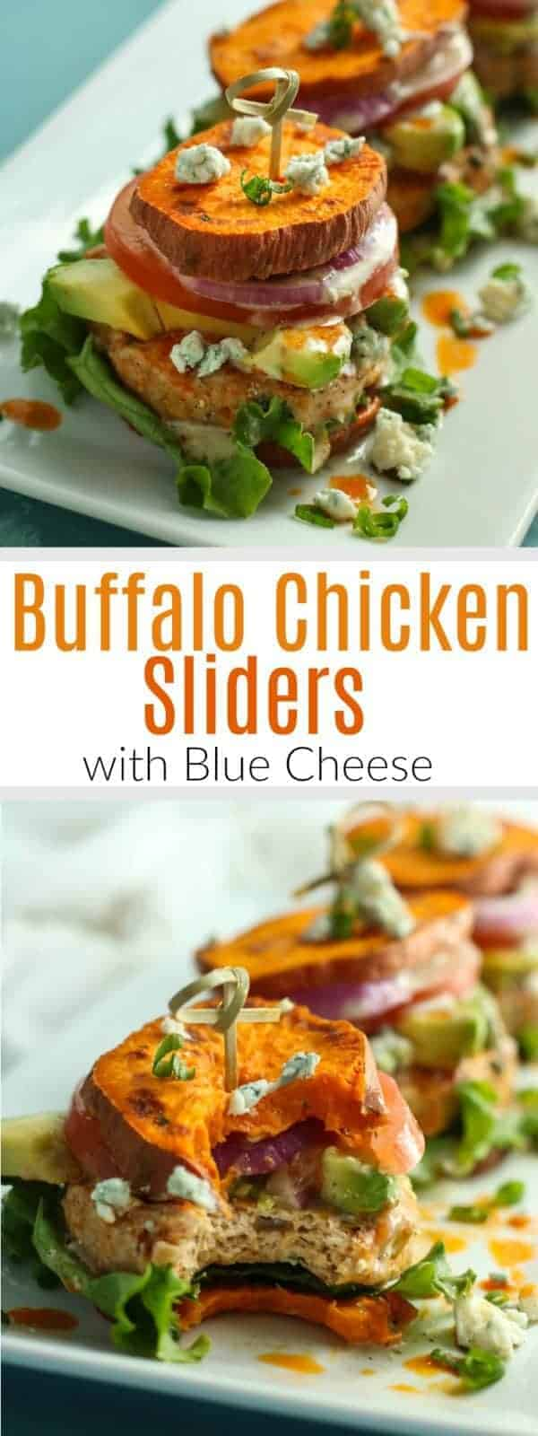 Buffalo Chicken Sliders | Buffalo wings meets sweet potato fries in these Buffalo Chicken Sliders! Serve with sliced onions, tomato, leaf lettuce and avocado, if desired. The Real Food Dietitians | https://therealfoodrds.com/buffalo-chicken-sliders/