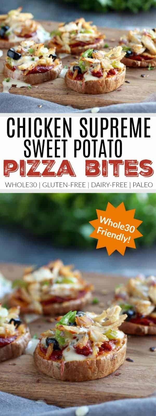 Chicken Supreme Sweet Potato Pizza Bites | pizza inspired recipes | healthy pizza alternatives | easy dinner recipes | healthy dinner recipes | Whole30 recipe ideas | Whole30 approved recipes | Whole30 dinner ideas | gluten free recipes | gluten free pizza recipes | healthy recipes using sweet potatoes | paleo dinner recipes | paleo friendly meals || The Real Food Dietitians