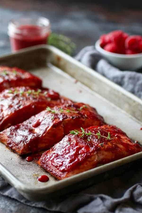 Raspberry Balsamic Glazed Salmon (Whole30)