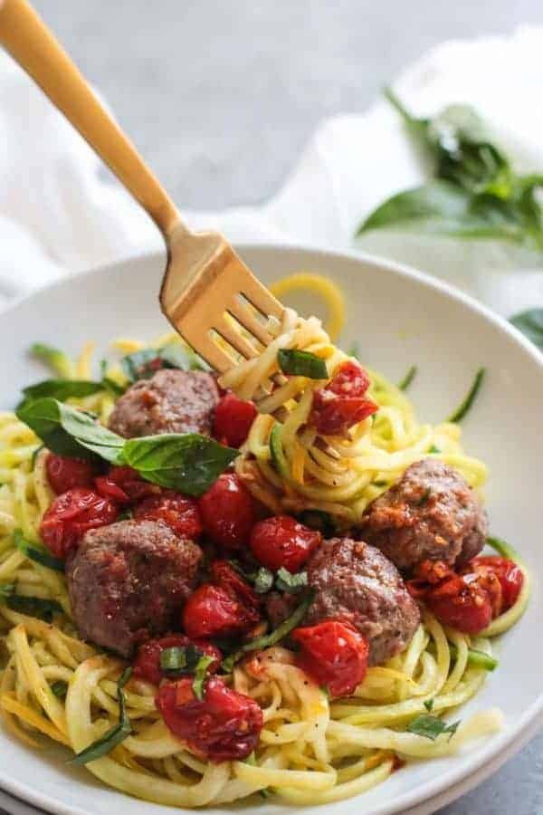 Italian Meatballs with Zoodles (Whole30)   The Real Food Dietitians   https://therealfoodrds.com/italian-meatballs-with-zoodles-whole30/