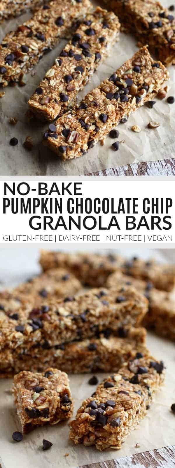 No-Bake Pumpkin Chocolate Chip Granola Bars | gluten-free granola bars | dairy-free granola bars | nut-free granola bars | vegan granola bars | gluten-free snacks | dairy-free snacks | nut-free snacks | vegan snacks || The Real Food Dietitians #nobakesnacks #healthygranolabars