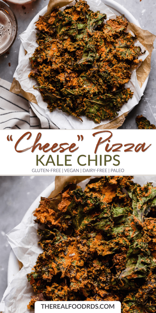 Long Pin Image for Cheese Pizza Kale Chips