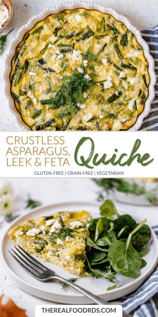 Long Pin Image for Crustless Asparagus, Leek, & Feta Quiche